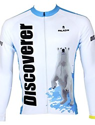 cheap -ILPALADINO Men's Long Sleeve Cycling Jersey Winter Fleece 100% Polyester White+Sky Blue Stripes Bike Jersey Top Mountain Bike MTB Road Bike Cycling Breathable Quick Dry Ultraviolet Resistant Sports