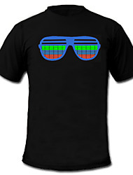cheap -LED T-shirts Sound activated LED lights Textile Cartoon 2 AAA Batteries