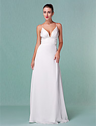 cheap -Sheath / Column V Neck Floor Length Chiffon Spaghetti Strap Sexy Backless Wedding Dresses with Draping 2020
