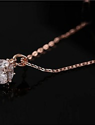 cheap -Clear Cubic Zirconia Gold Rose Gold Necklace Jewelry For Daily