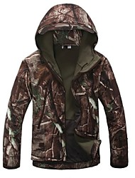 cheap -Men's Hunting Jacket Outdoor Thermal Warm Windproof Breathable Rain Waterproof Spring Fall Winter Camo / Camouflage Jacket Hoodie Zip Top Fleece Nylon Long Sleeve Camping / Hiking Hunting Fishing Tan