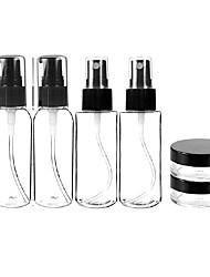 abordables -6 en 1 noir design simple plastique transparent bouteille de Voyage ensemble
