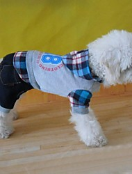 cheap -Dog Hoodie Jumpsuit Dog Clothes Plaid / Check Gray Cotton Costume For Spring &  Fall Winter Men's Fashion