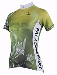cheap -ILPALADINO Women's Short Sleeve Cycling Jersey Green Floral Botanical Bike Top Road Bike Cycling Breathable Quick Dry Ultraviolet Resistant Sports 100% Polyester Clothing Apparel