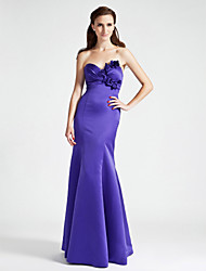 cheap -Mermaid / Trumpet Strapless Sweetheart Floor Length Satin Bridesmaid Dress with Flower Side Draping by LAN TING BRIDE®
