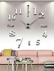 Недорогие -безрамные большие поделки настенные часы, современные 3d настенные часы с зеркальными номерами наклейки для домашнего офиса украшения подарок (серебро)
