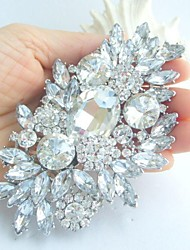 cheap -Women's Crystal Brooches Flower Statement Ladies Luxury Fashion fancy Crystal Rhinestone Brooch Jewelry White Silver For Wedding Party Special Occasion Birthday Gift Casual