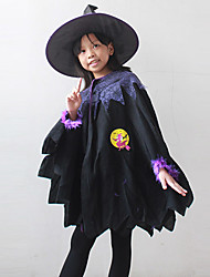 cheap -Witch Cosplay Costume Kid's Halloween Carnival Festival / Holiday Polyester Carnival Costumes / Hat