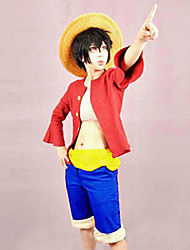 cheap -Inspired by One Piece Monkey D. Luffy Anime Cosplay Costumes Japanese Cosplay Suits Patchwork Top Belt Shorts For Men's Women's