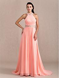 cheap -Sheath / Column Open Back Prom Formal Evening Military Ball Dress Halter Neck Sleeveless Court Train Chiffon with Criss Cross Beading Draping 2020