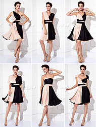 cheap -Sheath / Column / Fit & Flare V Neck Knee Length Knit Color Block Cocktail Party / Homecoming / Prom Dress 2020 with Sash / Ribbon / Pleats