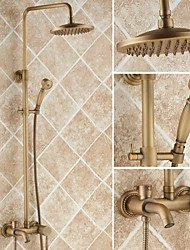 cheap -Shower Faucet - Antique Shower System Ceramic Valve Bath Shower Mixer Taps / Brass / Single Handle Three Holes