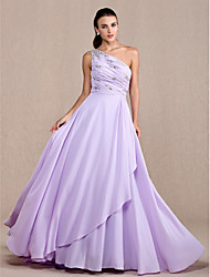 cheap -A-Line Elegant Prom Formal Evening Military Ball Dress One Shoulder Sleeveless Court Train Chiffon with Beading Side Draping 2021