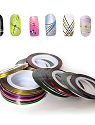 cheap -12pcs mixed colors rolls striping tape line nail art decoration sticker