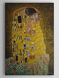 cheap -Hand-painted Oil Painting The Kiss by Gustav Klimt With Stretched Frame