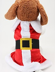 cheap -Dog Costume Coat Winter Dog Clothes Red Costume Cotton Color Block Cosplay Christmas S M L