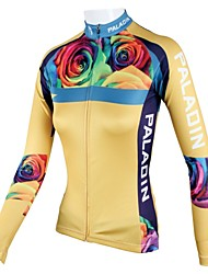 cheap -ILPALADINO Women's Long Sleeve Cycling Jersey Yellow Floral Botanical Plus Size Bike Jersey Top Breathable Quick Dry Sports 100% Polyester Mountain Bike MTB Road Bike Cycling Clothing Apparel