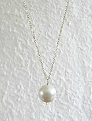 cheap -Women's Pearl Pendant Necklace Pearl Necklace Floating Ladies Simple Style Pearl Imitation Pearl Alloy Pearl White Necklace Jewelry For Daily