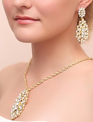 cheap -Gorgeous Alloy Rhinestone Wedding Bridal Necklace and Earrings Jewelry Set