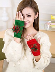 cheap -Women's Fashion Cut Out with Ball Knitting Warm Gloves