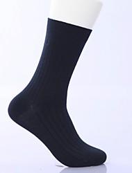 Недорогие -мужская мода чистый цвет утолщение хлопка бизнес носки три пары (случайный цвет)