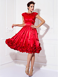 cheap -A-Line Floral Red Cocktail Party Prom Dress Jewel Neck Short Sleeve Knee Length Stretch Satin with Appliques 2020
