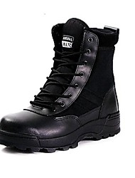 cheap -Men's Comfort Shoes Leather Fall / Winter Sporty Boots 10.16-15.24 cm / Booties / Ankle Boots Black / Khaki / Outdoor / Lace-up / Outdoor / Combat Boots / EU42