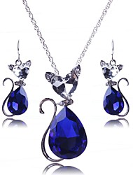 cheap -Sapphire Crystal Jewelry Set Pendant Pear Cut Solitaire Ladies Party European Fashion Earrings Jewelry Red / Blue / Black For Party Special Occasion Anniversary Birthday Gift / Necklace
