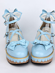 cheap -Women's Lolita Shoes Sweet Lolita Wedge Wedge Heel Shoes Bowknot 5 cm Blue Pink PU Leather / Polyurethane Leather Polyurethane Leather Halloween Costumes / Princess