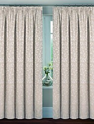 cheap -Two Panels Country / Neoclassical / European / Modern Floral / Botanical Off-white Bedroom Linen/Polyester Blend Panel Curtains Drapes