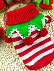 cheap -Dog Sweater Cosplay Christmas Winter Dog Clothes Puppy Clothes Dog Outfits White / Red Green / Red White / Green Costume for Girl and Boy Dog Mixed Material XXS XS S M L