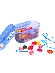 cheap -120PCS Wooden String Beads Game Animal and Fruit Shapes Blocks Educational Toys