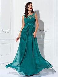 cheap -Sheath / Column Illusion Neck Floor Length Chiffon / Tulle Elegant Prom / Formal Evening Dress with Appliques / Draping 2020