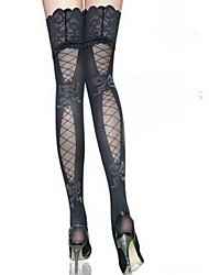 Недорогие -Жен. Тонкая ткань Сексуальные платья Чулки - Однотонный Тонкая Черный Один размер