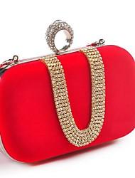 cheap -Women's Bags Polyester Evening Bag Crystals Party Wedding Evening Bag Wedding Bags Handbags Black Red Fuchsia Blue