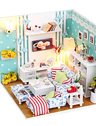 cheap -Dollhouse Building Kit Miniature Room Accessories Houses Furniture Country compatible Wood Legoing Creative DIY with LED Light Boys' Girls' Toy Gift / Kid's
