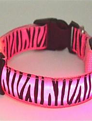cheap -Cat Dog Collar LED Lights Zebra Nylon Green Blue Pink
