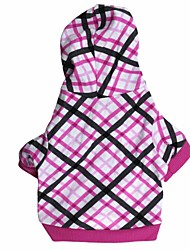 cheap -Cat Dog Hoodie Dog Clothes Breathable Pink Costume Cotton Plaid / Check XS S M L