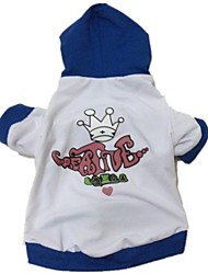 cheap -Dog Hoodie Winter Dog Clothes White / Blue Costume Cotton S M L