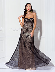 cheap -A-Line Vintage Inspired Formal Evening Military Ball Dress Sweetheart Neckline Sleeveless Floor Length Lace Stretch Satin with Lace Appliques 2020