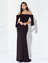 cheap -Sheath / Column Off Shoulder Sweep / Brush Train Jersey Open Back / Elegant / Celebrity Style Prom / Formal Evening / Military Ball Dress 2020 with Side Draping