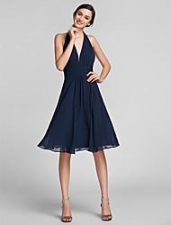 cheap -Sheath / Column Halter Neck Knee Length Chiffon Bridesmaid Dress with Draping / Ruched by LAN TING BRIDE®