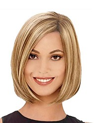cheap -Synthetic Wig Straight Style Bob Wig Blonde Brown With Blonde Synthetic Hair Women's Highlighted / Balayage Hair Side Part Blonde Wig hairjoy