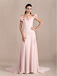 cheap -Ball Gown Floral Formal Evening Dress Off Shoulder Short Sleeve Court Train Chiffon with Bow(s) Beading Flower 2021