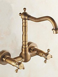 cheap -Victoria Antique Brass Bar / ­Prep Wall Mounted Traditional Kitchen Taps Two Holes-Kitchen faucet