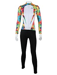 cheap -ILPALADINO Women's Long Sleeve Cycling Jersey with Tights Winter Fleece White Floral Botanical Bike Clothing Suit Windproof Breathable Quick Dry Back Pocket Sports Floral Botanical Clothing Apparel