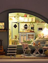 abordables -temps de la créativité jouets lampe caravane Voyage de contrôle du son maison de poupée en bois diy de puzzle