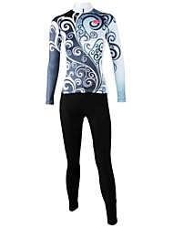 cheap -ILPALADINO Women's Long Sleeve Cycling Jersey with Tights Floral Botanical Plus Size Bike Clothing Suit Windproof Breathable Quick Dry Back Pocket Sports Floral Botanical Mountain Bike MTB Road Bike