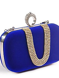 cheap -Women's Bags Polyester Evening Bag Crystals Wedding Bags Wedding Party Black Red Fuchsia Blue