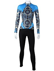 cheap -ILPALADINO Women's Long Sleeve Cycling Jersey with Tights Bule / Black Plus Size Bike Clothing Suit Windproof Breathable Quick Dry Back Pocket Sports Patterned Mountain Bike MTB Road Bike Cycling